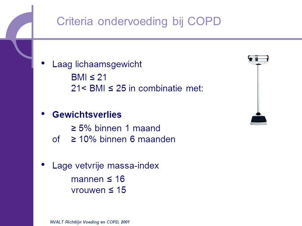 Laag lichaamsgewicht BMI  ≤  21 21< BMI ≤ 25 in combinatie met: Gewichtsverlies ≥ 5% binnen 1 maand of≥ 10% binnen 6 maanden Lage vetvrije massa-index mannen ≤ 16 vrouwen ≤ 15 Criteria ondervoeding bij COPD NVALT Richtlijn Voeding en COPD, 2001