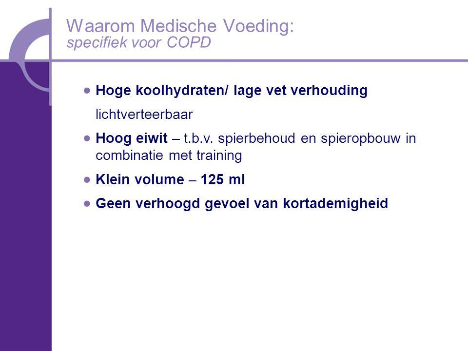 Waarom Medische Voeding: specifiek voor COPD  Hoge koolhydraten/ lage vet verhouding lichtverteerbaar  Hoog eiwit – t.b.v.