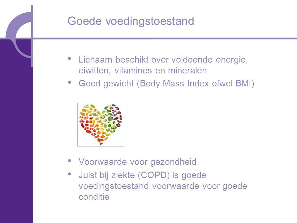 Lichaam beschikt over voldoende energie, eiwitten, vitamines en mineralen Goed gewicht (Body Mass Index ofwel BMI) Voorwaarde voor gezondheid Juist bij ziekte (COPD) is goede voedingstoestand voorwaarde voor goede conditie Goede voedingstoestand