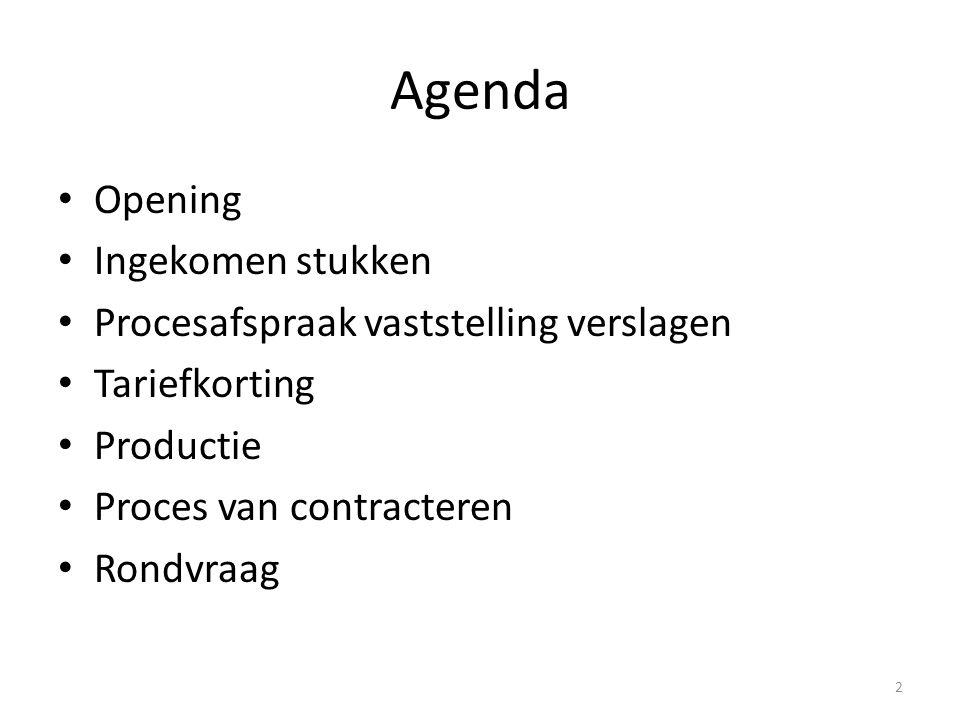 Agenda Opening Ingekomen stukken Procesafspraak vaststelling verslagen Tariefkorting Productie Proces van contracteren Rondvraag 2