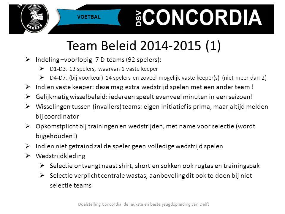Team Beleid 2014-2015 (1)  Indeling –voorlopig- 7 D teams (92 spelers):  D1-D3: 13 spelers, waarvan 1 vaste keeper  D4-D7: (bij voorkeur) 14 speler