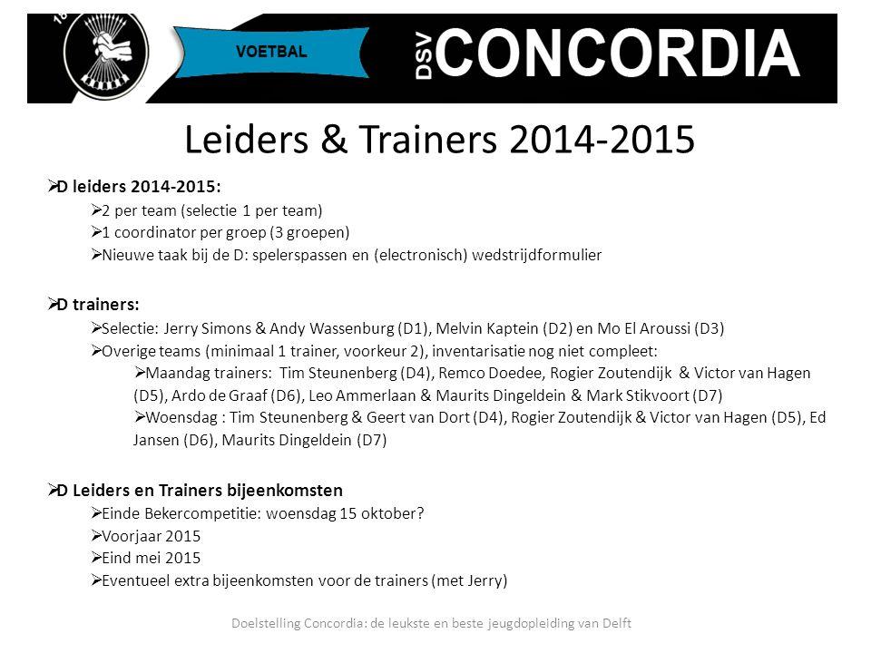 Doelstelling Concordia: de leukste en beste jeugdopleiding van Delft  Realistische indeling bij KNVB  Klasse indeling 2014-2015 (voorlopig)  D1: 1e klasse, selectie  D2: 2e klasse, selectie  D3: 4e klasse, selectie  D4: 5e klasse  D5: 6e klasse  D6: 7e klasse  D7: 8e klasse  Tijd indeling 2014-2015 (thuiswedstrijden!)  D1 en D3: 13:00 uur  D2 en D4: 09:45 uur of 11:00 uur  D5 t/m D7: 09:45 uur of 11:00 uur Klasse & Tijd Indelingen