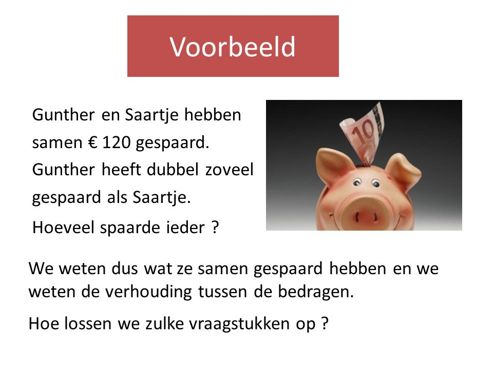 Gunther en Saartje hebben samen € 120 gespaard.Gunther heeft dubbel zoveel gespaard als Saartje.