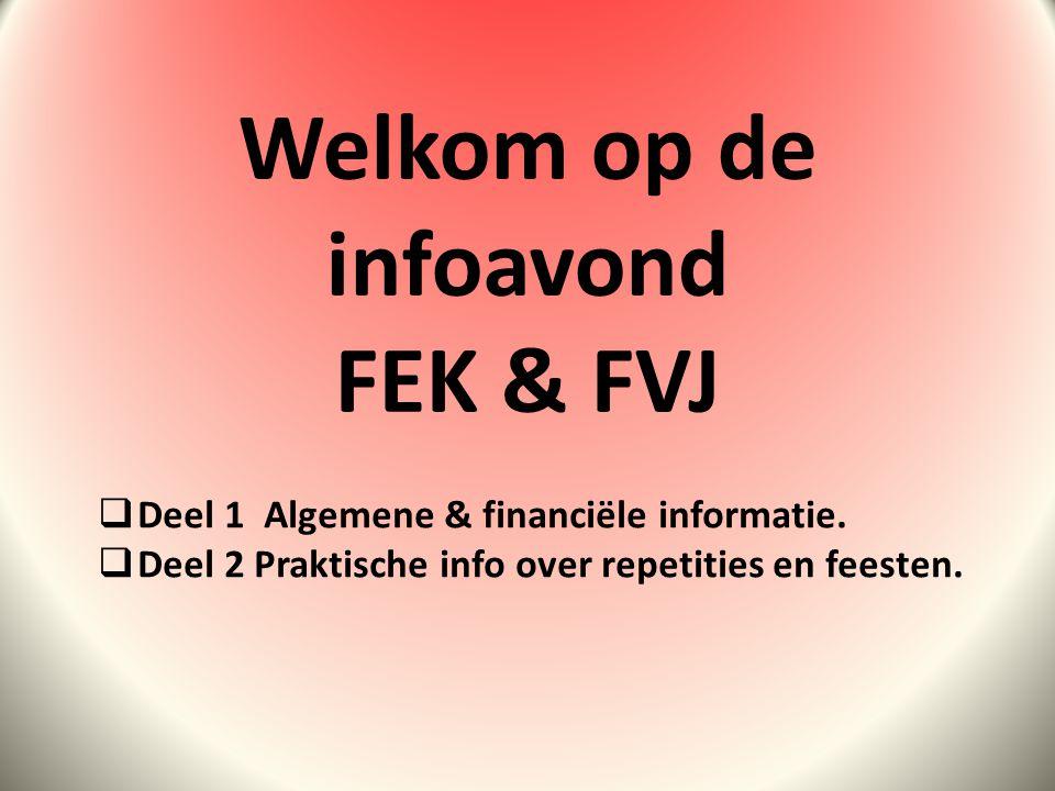 Welkom op de infoavond FEK & FVJ  Deel 1 Algemene & financiële informatie.