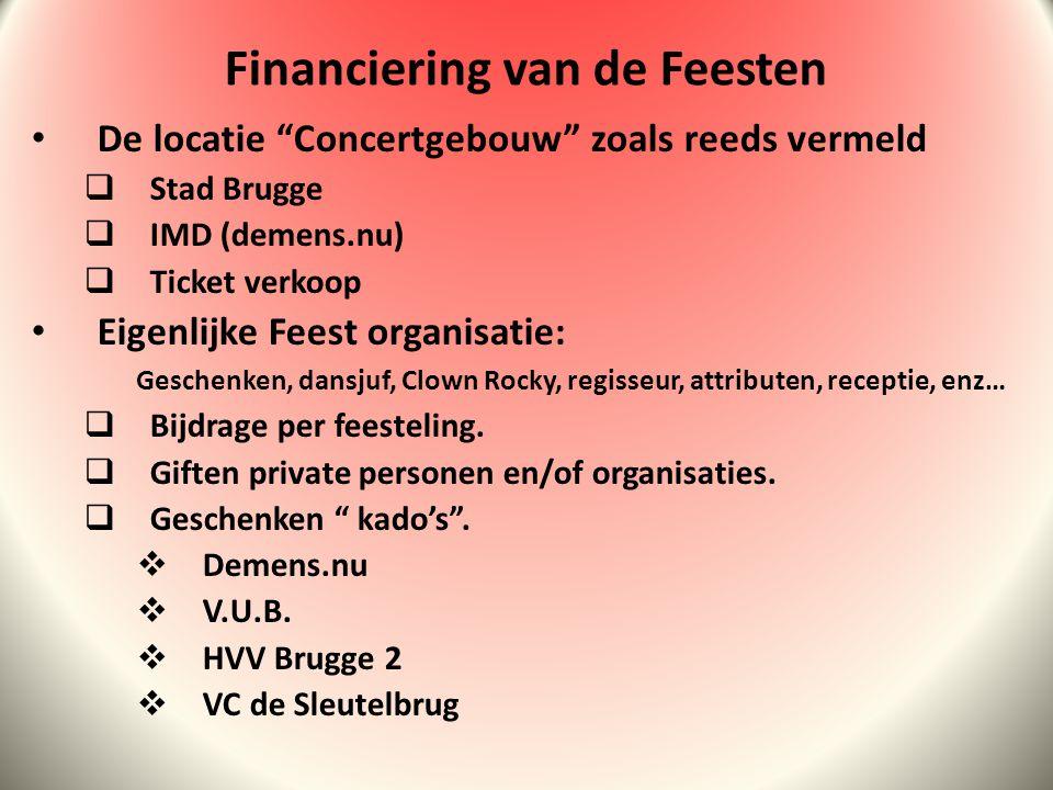 De locatie Concertgebouw zoals reeds vermeld  Stad Brugge  IMD (demens.nu)  Ticket verkoop Eigenlijke Feest organisatie: Geschenken, dansjuf, Clown Rocky, regisseur, attributen, receptie, enz…  Bijdrage per feesteling.