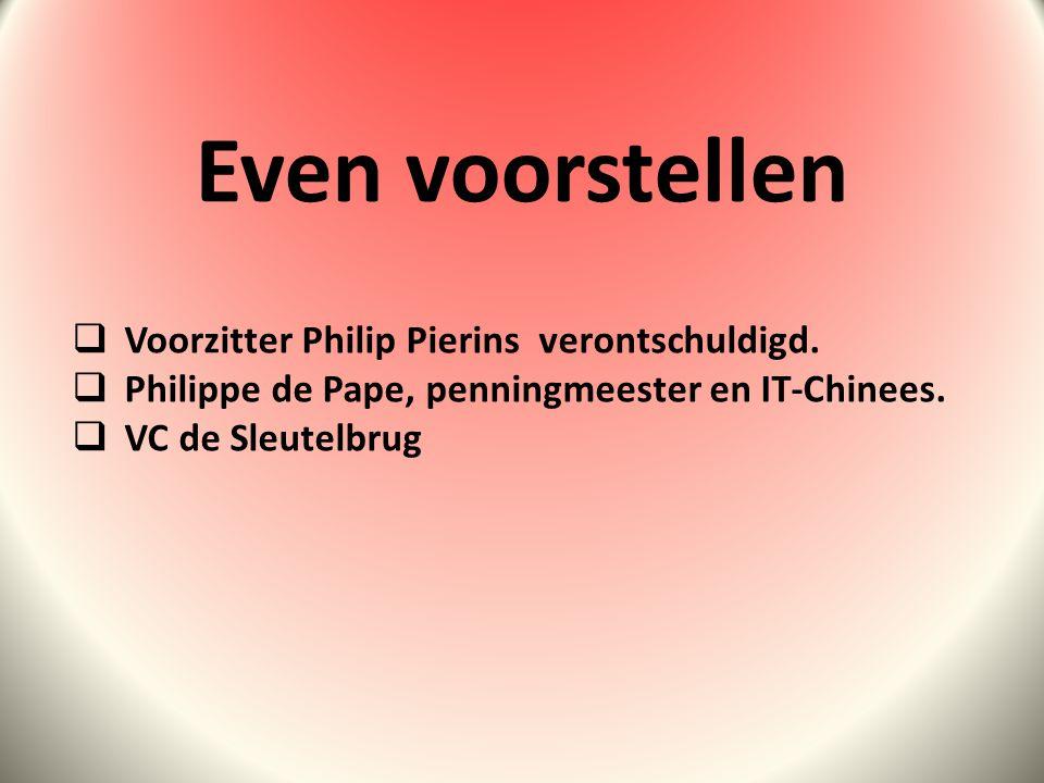 Even voorstellen  Voorzitter Philip Pierins verontschuldigd.