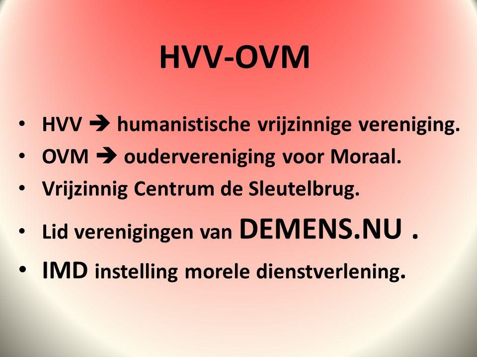 HVV  humanistische vrijzinnige vereniging.OVM  oudervereniging voor Moraal.