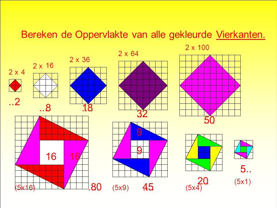 Bereken de Oppervlakte van alle Vierkanten.....