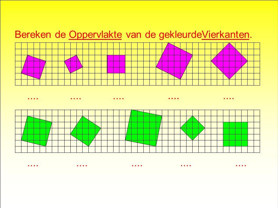Bereken de Oppervlakte van alle gekleurde Vierkanten..... 2 818 32 50 80 16 9 9 45 20 5 (5x9)(5x16)(5x4) (5x1) 2 x4 16 36 64 100