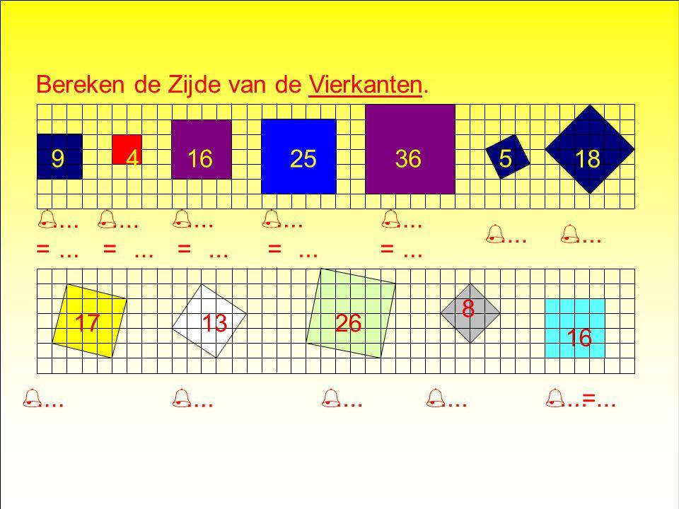 Bereken de Oppervlakte van de Vierkanten..... 10592018 171326816 (4x12+4) (4x1+1)(3x3)(4x4+4)(4x42) (4x2+9)(4x3+1)(4x22+16)(4x1+4)(4x4)