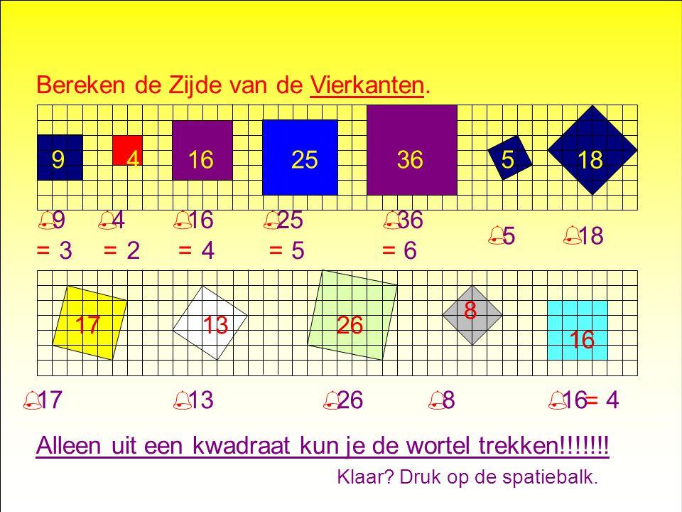 Bereken de Zijde van de Vierkanten. 59 18 171326 8 16 25364....% % % % % =.......% % % % % % % = = = ==...