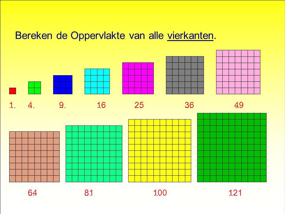 Bereken de Oppervlakte van alle vierkanten....