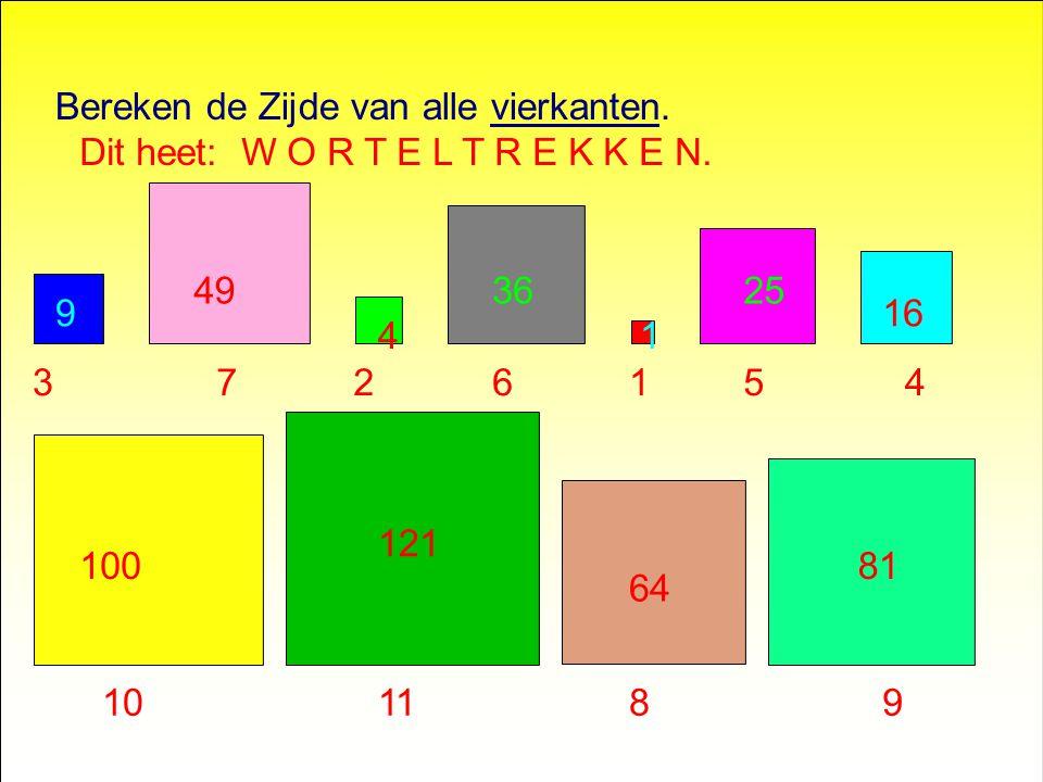 Bereken de Zijde van alle vierkanten.... De oppervlakte staat erin!!!! 100 121 81 64 16 49 4 3625 9 1