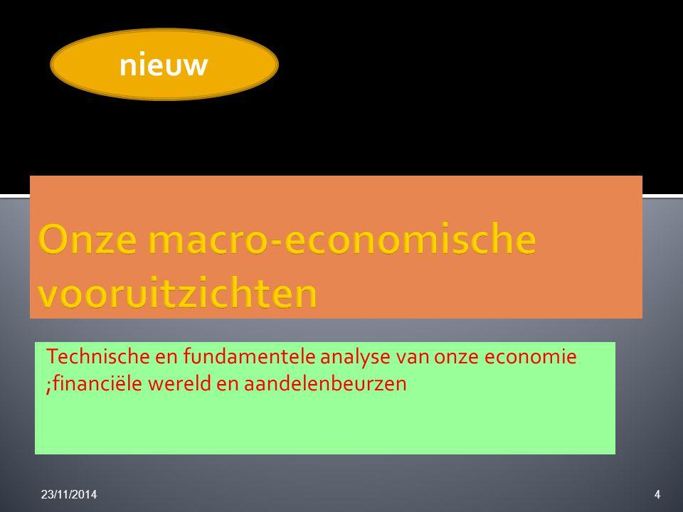 Technische en fundamentele analyse van onze economie ;financiële wereld en aandelenbeurzen 23/11/20144 nieuw