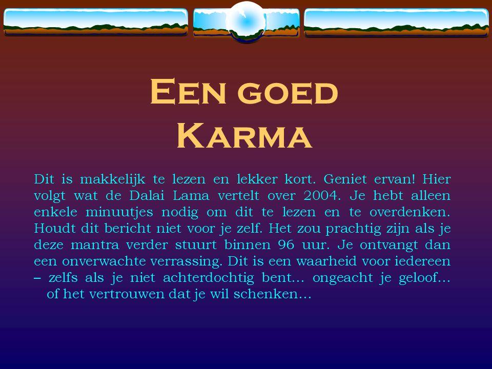 Een goed Karma Dit is makkelijk te lezen en lekker kort. Geniet ervan! Hier volgt wat de Dalai Lama vertelt over 2004. Je hebt alleen enkele minuutjes