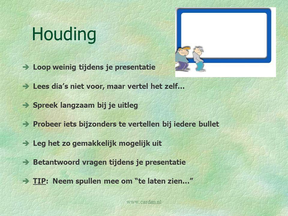 www.cardan.nl Houding èLoop weinig tijdens je presentatie èLees dia's niet voor, maar vertel het zelf… èSpreek langzaam bij je uitleg èProbeer iets bi