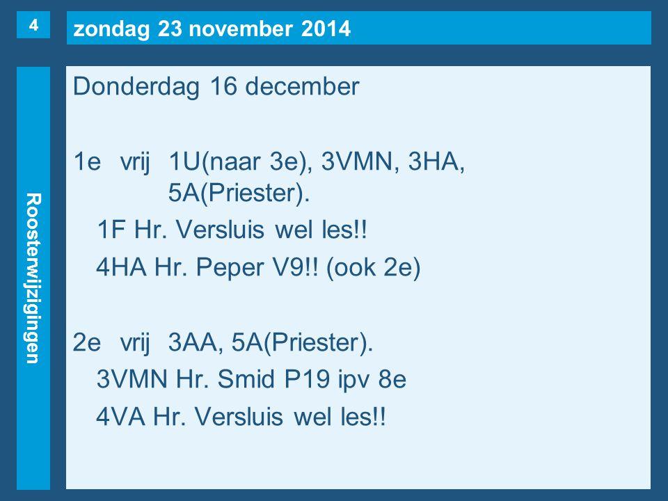 zondag 23 november 2014 Roosterwijzigingen Donderdag 16 december 1evrij1U(naar 3e), 3VMN, 3HA, 5A(Priester).