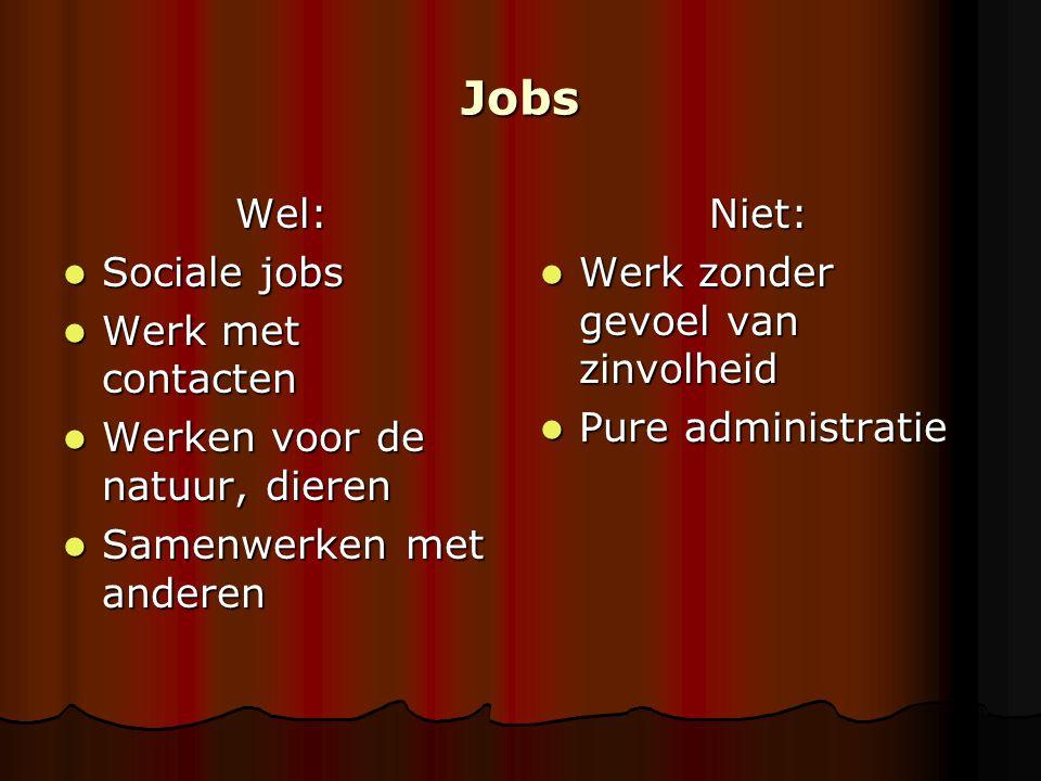 Jobs Wel: Sociale jobs Sociale jobs Werk met contacten Werk met contacten Werken voor de natuur, dieren Werken voor de natuur, dieren Samenwerken met