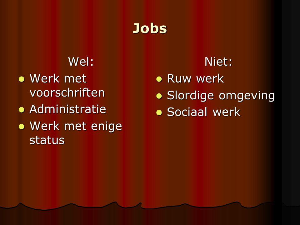Jobs Wel: Werk met voorschriften Werk met voorschriften Administratie Administratie Werk met enige status Werk met enige statusNiet: Ruw werk Ruw werk