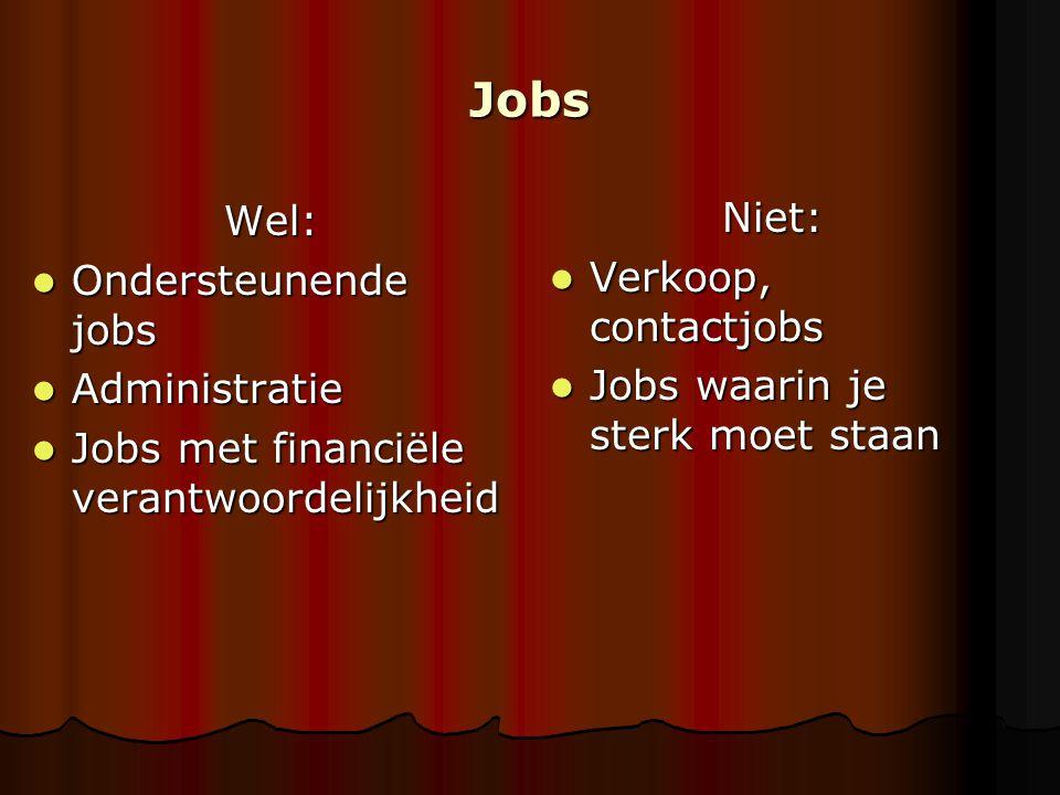 Jobs Wel: Ondersteunende jobs Ondersteunende jobs Administratie Administratie Jobs met financiële verantwoordelijkheid Jobs met financiële verantwoord
