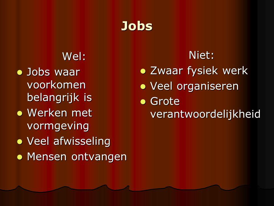 Jobs Wel: Jobs waar voorkomen belangrijk is Jobs waar voorkomen belangrijk is Werken met vormgeving Werken met vormgeving Veel afwisseling Veel afwiss
