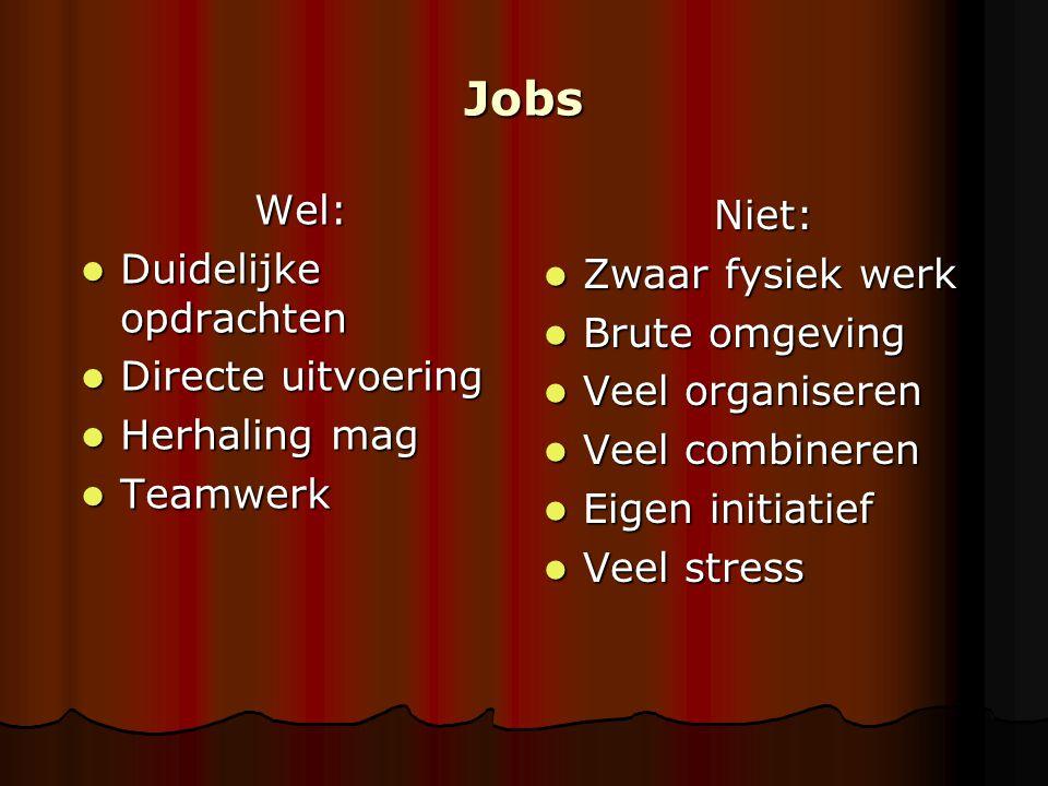 Jobs Wel: Duidelijke opdrachten Duidelijke opdrachten Directe uitvoering Directe uitvoering Herhaling mag Herhaling mag Teamwerk Teamwerk Niet: Zwaar