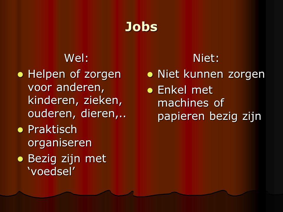 Jobs Wel: Helpen of zorgen voor anderen, kinderen, zieken, ouderen, dieren,.. Helpen of zorgen voor anderen, kinderen, zieken, ouderen, dieren,.. Prak