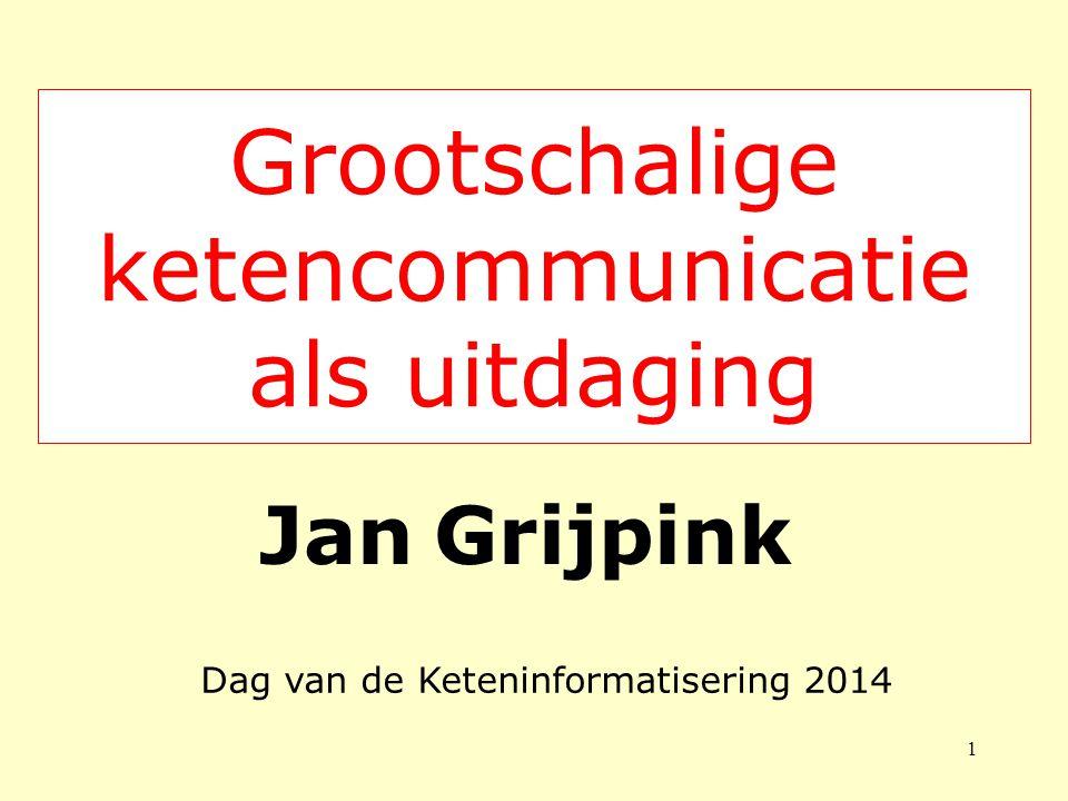 Grootschalige ketencommunicatie als uitdaging Jan Grijpink 1 Dag van de Keteninformatisering 2014