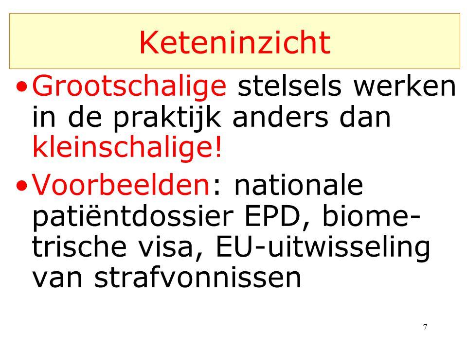 Grootschalige stelsels werken in de praktijk anders dan kleinschalige! Voorbeelden: nationale patiëntdossier EPD, biome- trische visa, EU-uitwisseling