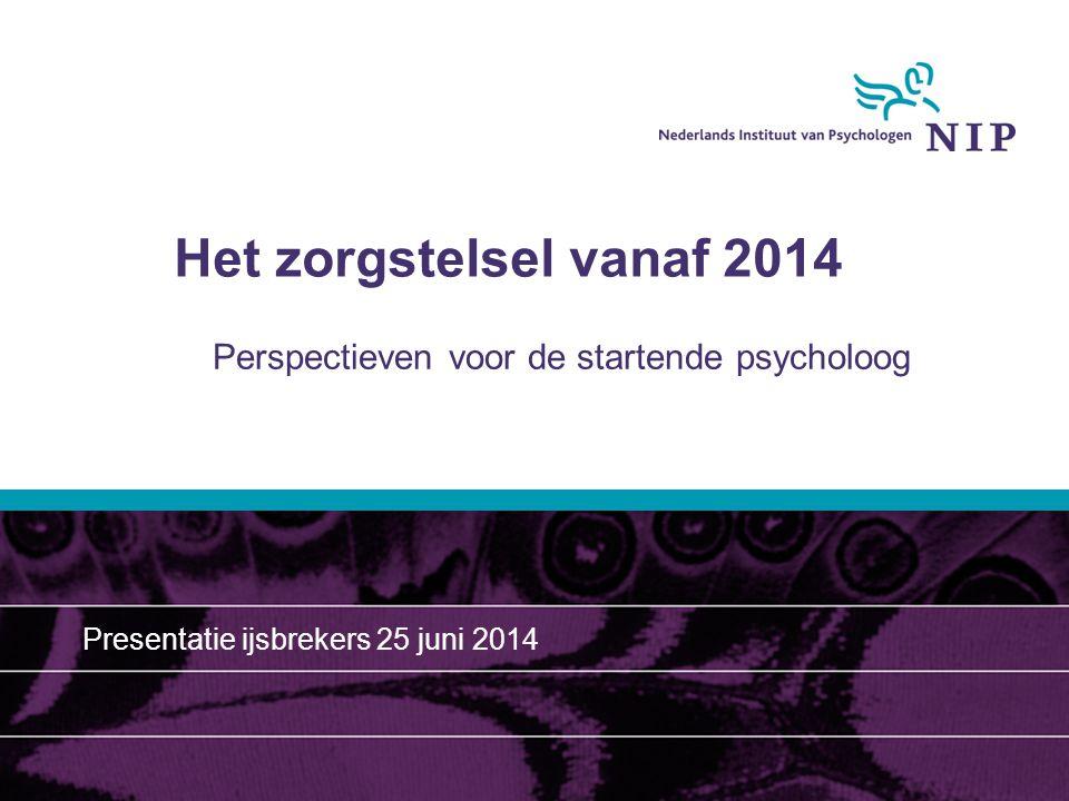 Het zorgstelsel vanaf 2014 Perspectieven voor de startende psycholoog Presentatie ijsbrekers 25 juni 2014