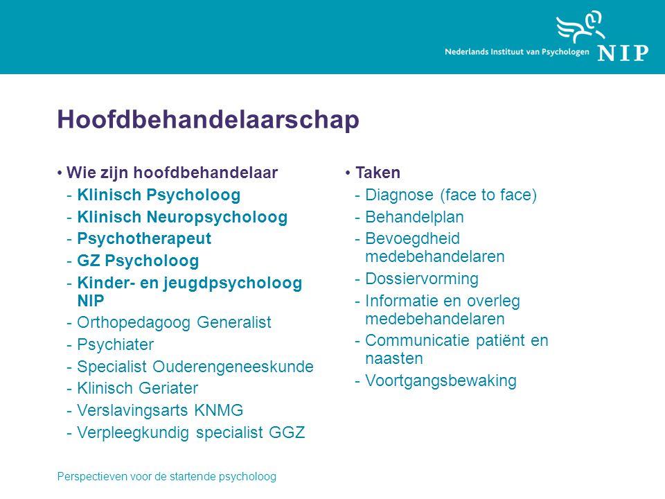 Hoofdbehandelaarschap Wie zijn hoofdbehandelaar -Klinisch Psycholoog -Klinisch Neuropsycholoog -Psychotherapeut -GZ Psycholoog -Kinder- en jeugdpsycho