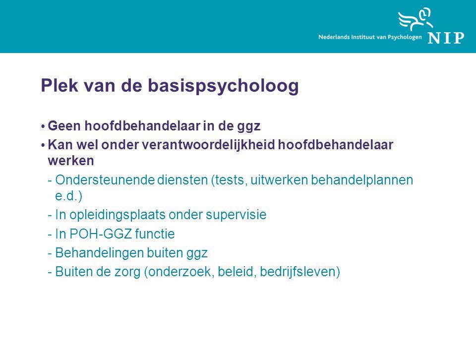 Plek van de basispsycholoog Geen hoofdbehandelaar in de ggz Kan wel onder verantwoordelijkheid hoofdbehandelaar werken -Ondersteunende diensten (tests