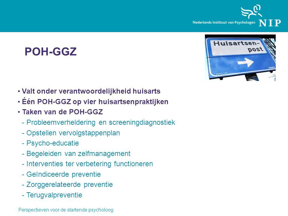 POH-GGZ Valt onder verantwoordelijkheid huisarts Één POH-GGZ op vier huisartsenpraktijken Taken van de POH-GGZ -Probleemverheldering en screeningdiagn