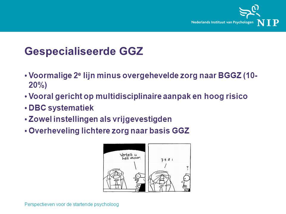 Gespecialiseerde GGZ Voormalige 2 e lijn minus overgehevelde zorg naar BGGZ (10- 20%) Vooral gericht op multidisciplinaire aanpak en hoog risico DBC systematiek Zowel instellingen als vrijgevestigden Overheveling lichtere zorg naar basis GGZ Perspectieven voor de startende psycholoog