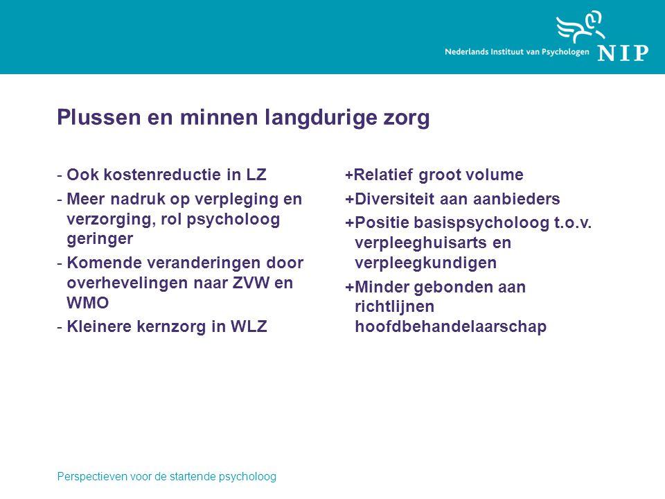Plussen en minnen langdurige zorg -Ook kostenreductie in LZ -Meer nadruk op verpleging en verzorging, rol psycholoog geringer -Komende veranderingen d