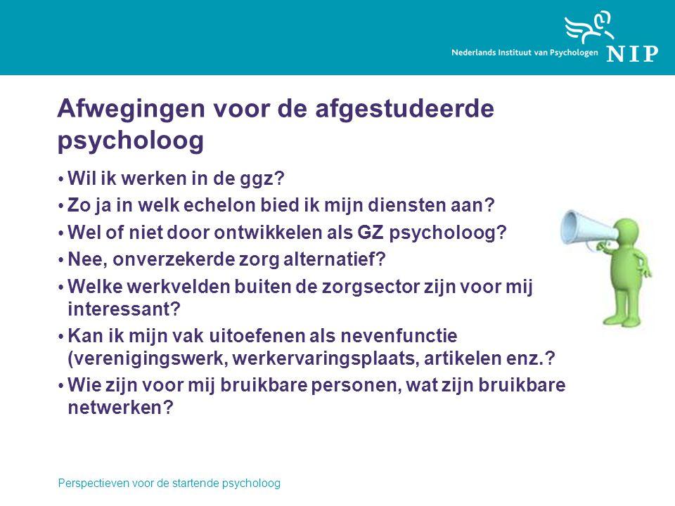 Afwegingen voor de afgestudeerde psycholoog Wil ik werken in de ggz.