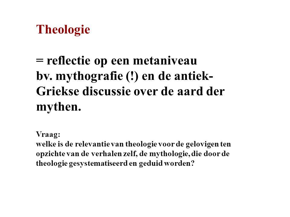 Theologie = reflectie op een metaniveau bv.