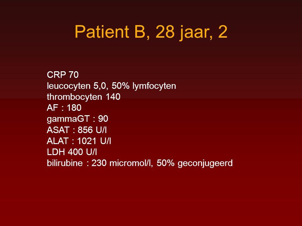 Patient B, 28 jaar, 2 CRP 70 leucocyten 5,0, 50% lymfocyten thrombocyten 140 AF : 180 gammaGT : 90 ASAT : 856 U/l ALAT : 1021 U/l LDH 400 U/l bilirubi