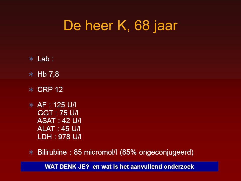 De heer K, 68 jaar  Lab :  Hb 7,8  CRP 12  AF : 125 U/l GGT : 75 U/l ASAT : 42 U/l ALAT : 45 U/l LDH : 978 U/l  Bilirubine : 85 micromol/l (85% o