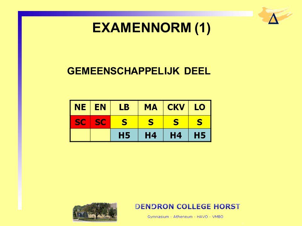 EXAMENNORM (1) GEMEENSCHAPPELIJK DEEL NEENLBMACKVLO SC SSSS H5H4 H5