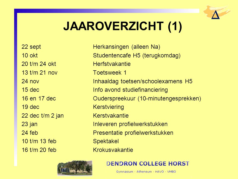 JAAROVERZICHT (1) 22 septHerkansingen (alleen Na) 10 oktStudentencafe H5 (terugkomdag) 20 t/m 24 okt Herfstvakantie 13 t/m 21 novToetsweek 1 24 novInh