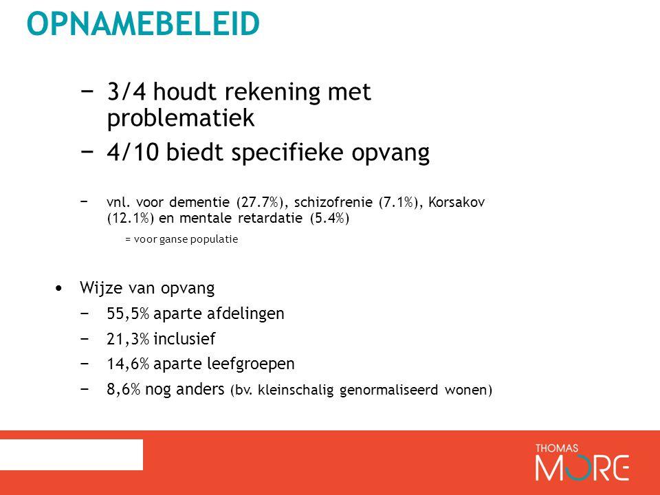 OPNAMEBELEID − 3/4 houdt rekening met problematiek − 4/10 biedt specifieke opvang − vnl.