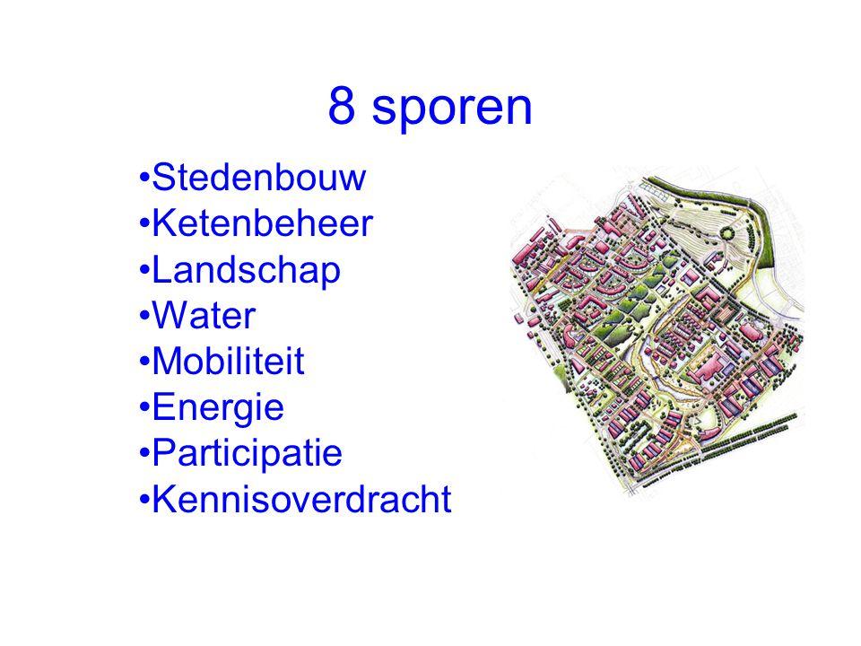 8 sporen Stedenbouw Ketenbeheer Landschap Water Mobiliteit Energie Participatie Kennisoverdracht