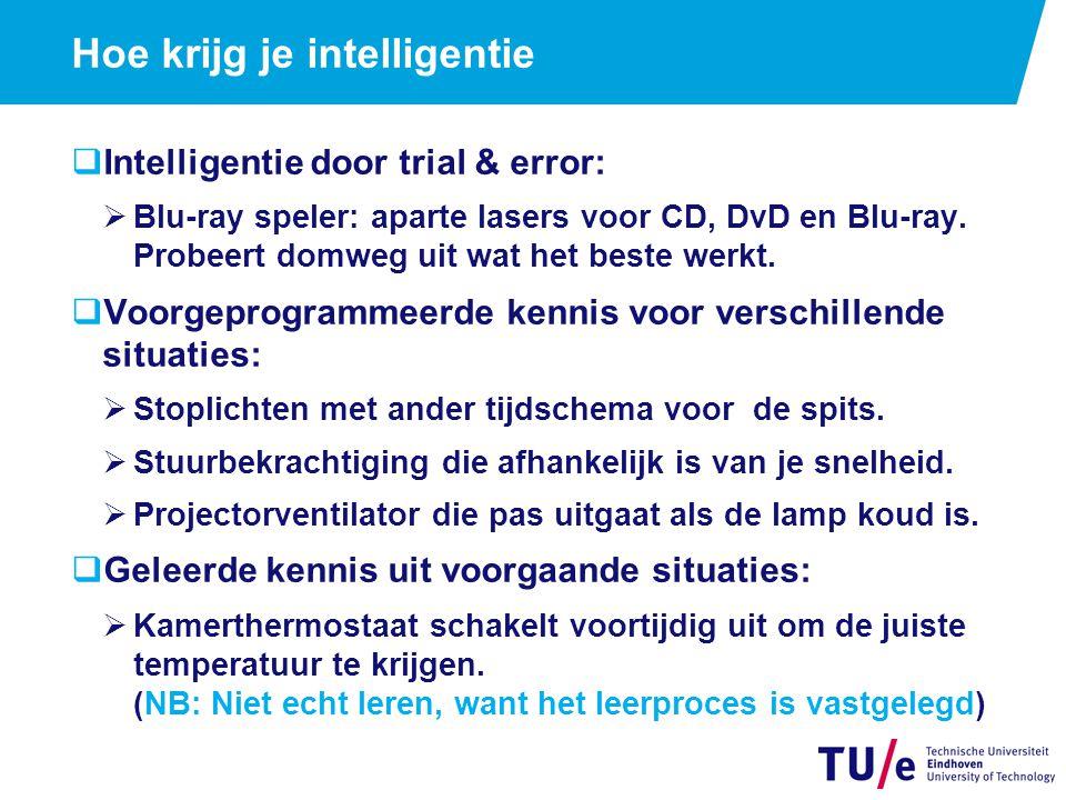 Hoe krijg je intelligentie  Intelligentie door trial & error:  Blu-ray speler: aparte lasers voor CD, DvD en Blu-ray.