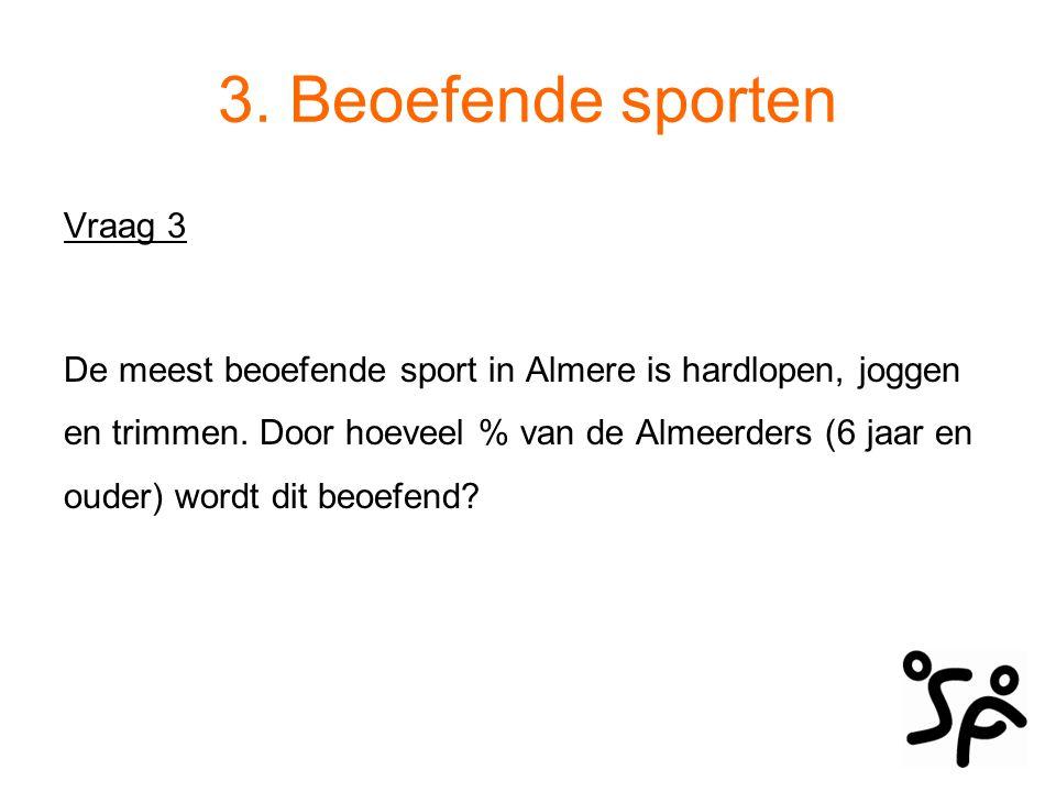 3. Beoefende sporten Vraag 3 De meest beoefende sport in Almere is hardlopen, joggen en trimmen. Door hoeveel % van de Almeerders (6 jaar en ouder) wo