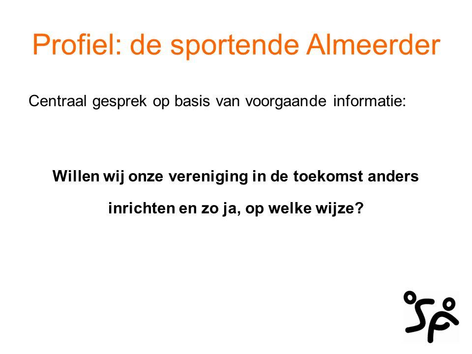 Profiel: de sportende Almeerder Centraal gesprek op basis van voorgaande informatie: Willen wij onze vereniging in de toekomst anders inrichten en zo