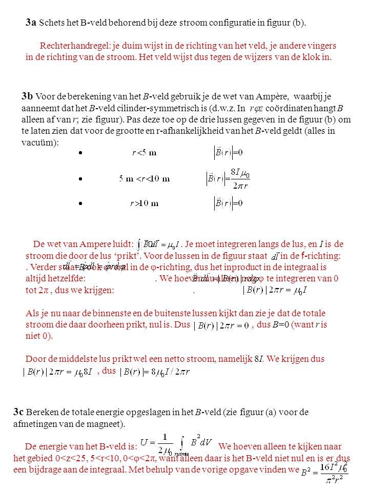 3a Schets het B-veld behorend bij deze stroom configuratie in figuur (b). Rechterhandregel: je duim wijst in de richting van het veld, je andere vinge