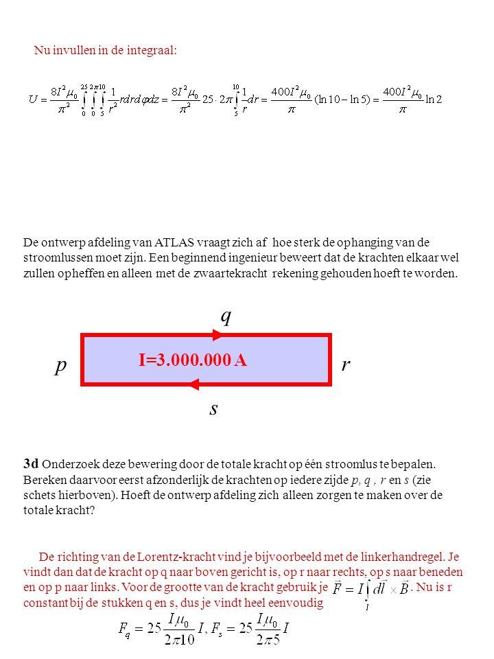 3d Onderzoek deze bewering door de totale kracht op één stroomlus te bepalen. Bereken daarvoor eerst afzonderlijk de krachten op iedere zijde p, q, r