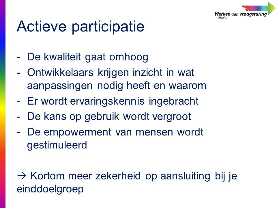 Actieve participatie -De kwaliteit gaat omhoog -Ontwikkelaars krijgen inzicht in wat aanpassingen nodig heeft en waarom -Er wordt ervaringskennis inge