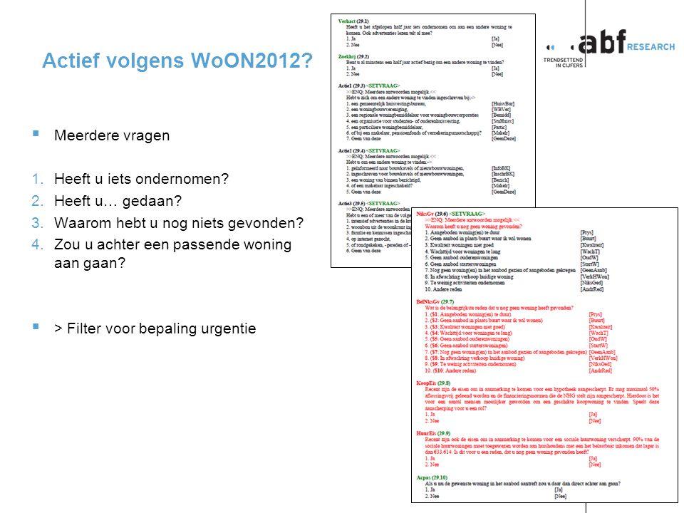 pagina 5 p2013-0019CP Actief volgens WoON2012.  Meerdere vragen 1.Heeft u iets ondernomen.